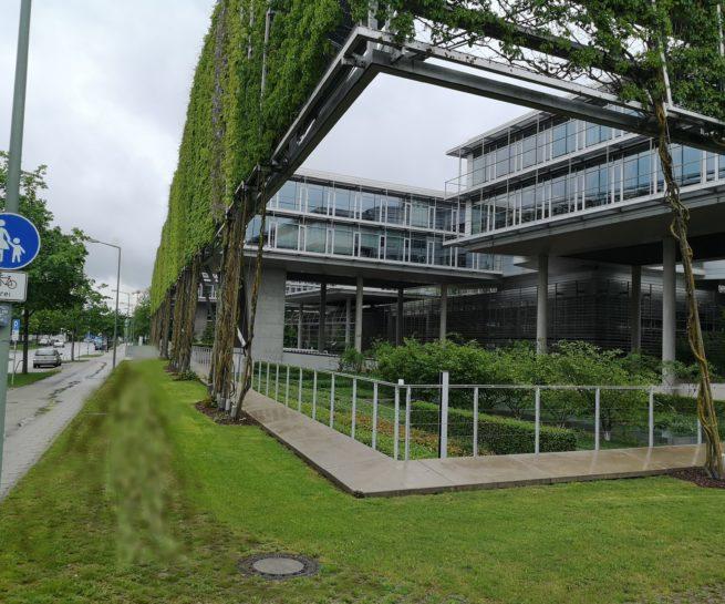 Leichte Sichtbetonfassade Glas München